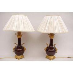 Pair Of Large Sang De Boeuf Porcelain Lamps, XIX Century
