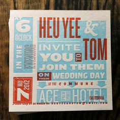 smokeproof Letterpress Invitation: Heu Yee + Tom