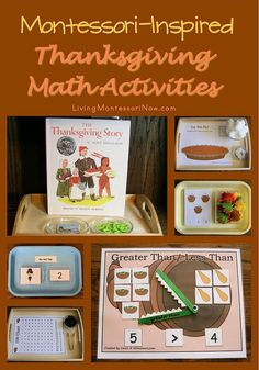 Montessori-Inspired Thanksgiving Math Activities - links to LOTS of free printables that work well for creating Montessori-inspired Thanksgiving activities along with a number of ideas for Montessori-inspired Thanksgiving math activities created using free printables (my monthly post at PreK + K Sharing)