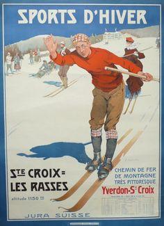 Affiche+originale+Sport+d'hiver+Ste+croix+les+rasses+-+Edouard+ELZINGRE