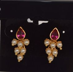 Grape Earrings with Pink Stone - Maharashtrian Earrings