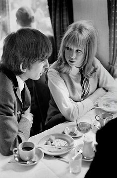 """Why I love George Harrison by Pattie Boyd pattielaylaboyd: """" Why I love George Harrison By Pattie Boyd: Of the four Beatles, George Harrison is the quietest. We asked Pattie Boyd, the beautiful model. Eric Clapton, Mark Lee, George Harrison Pattie Boyd, Beverly Hills, Wonderful Tonight, It's All Happening, A Hard Days Night, Something In The Way, British Invasion"""