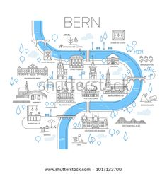 Illustrated map of Bern, Switzerland. royalty-free illustrated map of bern switzerland stock vector art & more images of illustration