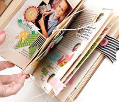 make a scrapbook/smash book out of a thrifted hardback book. Sew pages to make envelopes etc.