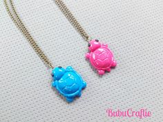 Turtle Tortoise Necklace Polymer Clay by bubucraftie on Etsy, $7.50