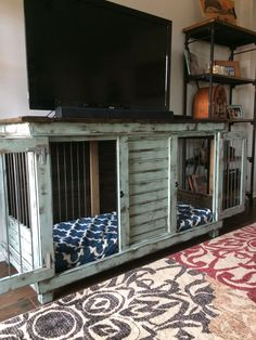 Double Dog Kennel Perfect For An Entry Table Tv Stand ; chenil pour chien double parfait pour un meuble tv de table d'entrée ; perrera doble perfecta para un soporte de tv de mesa de entrada Double Dog Crate, Crate Tv Stand, Laundry Folding Tables, Custom Dog Kennel, Luxury Dog Kennels, Diy Dog Crate, Crate Bed, Dog Crate Table, Dog Crate Furniture