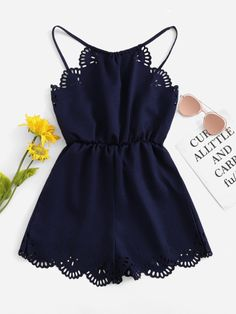 Solid Hollow Out Halter Romper solid hollow out halter romper ~ romwe - Jumpsuits and Romper Teenage Outfits, Cute Girl Outfits, Cute Casual Outfits, Cute Summer Outfits, Outfits For Teens, Crop Top Outfits, Stylish Outfits, Girls Fashion Clothes, Summer Fashion Outfits