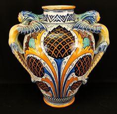 Huge Cantagalli Italian Faience Majolica Winged Figures Art Pottery Vase