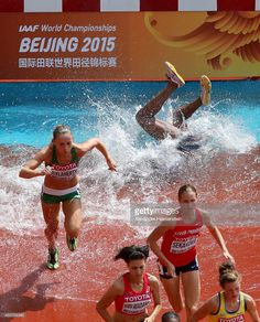 Rolanda Bell of Panama falls in the Women's 3000 metres steeplechase heats during day three of the 15th IAAF World Athletics Championships Beijing 2015 at Beijing National Stadium on August 24, 2015 in Beijing, China.