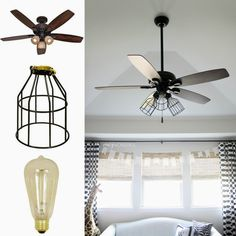 Crazy wonderful diy cage light ceiling fan crazy wonderful blog 5 ways to makeover a light industrial ceiling fanindustrial mozeypictures Images