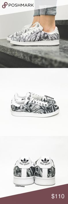 Adidas Women's Stan Smith 'Leaves' Print Sneakers NO TRADES  A classic tennis sneaker by Adidas innovated with a monochromatic leaf + floral printed mesh upper. Topped with a perforated stripes detail giving a superstar touch.  Content & Care - Textile, mixed - Wipe clean - Imported  Size - True to size  NOTES: - NEW; NO BOX; HAS TAGS - pics 2-4 photographed by me. Item's color will slightly vary from photos. - Priced upon rarity. If you leave a rude comment about the price, you will be…