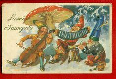 LATVIA LETTLAND MUSHROOM GNOMES AND DOUBLE BASS VINTAGE POSTCARD 941