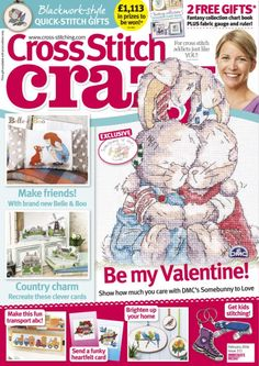Buy Cross Stitch Crazy, February 2016 on our Newsstand or get the subscription to the digital magazine and read it anywhere, anytime. Cross Stitch Magazines, Cross Stitch Books, Cross Stitch Animals, Belle And Boo, Knitting Magazine, How To Show Love, New Hobbies, Stitch Design, Be My Valentine