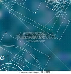 Mechanics. Technical design. Engineering style. Mechanical Corporate Identity. Blue background. Points #bubushonok #art #bubushonokart #design #vector #shutterstock #technical #engineering #drawing #blueprint  #technology #mechanism #draw #industry #construction #cad