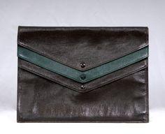 Vintage 1930s Art Deco 100% Leather Unique Layered 3 Ply Colour Block Large Envelope Clutch bag Satchel RIA VIALE by vdpshop on Etsy