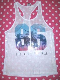 New Victoria Secret Pink White Love 86 Bling Sequin Tank Top Tee T Shirt XS | eBay