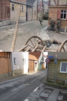 A street in Germany in WWII vs today