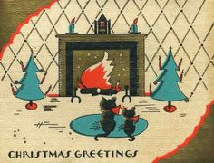1920s Rust Craft Christmas card - black cats in front of fireplace