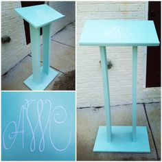 Monogrammed Podium on Etsy, $60.00- modify by adding wheels and shelves