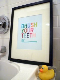 A friendly reminder to brush your teeth is a great addition to any modern family's washroom! As seen in California Home+Design magazine and Houzz.The artwork is