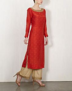 Red Bandhini Kurta With Embroidered Pants-Lajjoo C- Indian Attire, Indian Wear, Pakistani Outfits, Indian Outfits, Ethnic Fashion, Asian Fashion, Saris, Desi Clothes, Kurta Designs