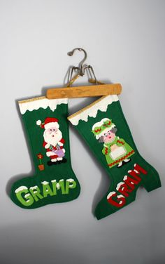 60s 70s Gram and Gramp Felt Christmas Stockings by oldgrowth, $10.00