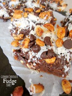 German Chocolate Fudge Bars - SimplyGloria.com
