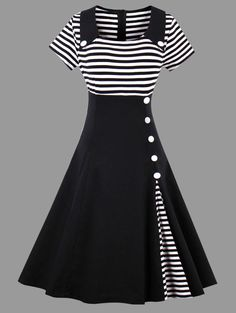 Striped A Line Plus Size Vintage Dress In Black,3xl | Twinkledeals.com