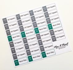 """Get buns of steel with this 30 day squat challenge set of stickers! The intensity increases as the month goes on! Each sheet contains 30 stickers. They're 1.5"""" wide. They're printed in high quality on"""