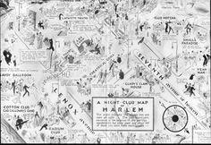 A 1920s Nightclub Map Of Harlem, NYC, including Lesbian nightclub, 'Glady's Clam House'.
