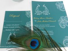 Modern Elegant Peacock Wedding Invitations  by MyMemorableDesigns, $5.09