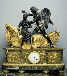 Cupid and Psyche Mantlepiece Clock, 1799 (bronze & marble), Thomire, Pierre Philippe (1751-1843) / Hermitage, St. Petersburg, Russia