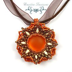 Anemone, Beadwork Pendant in Brown, Cream and Mango with Lunasoft Cabochon