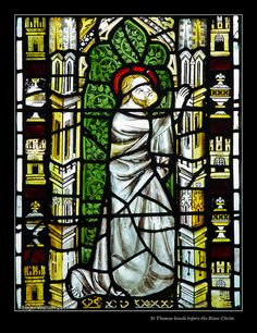 Detail from North Aisle Window - St Denys, York:  C14th: St Thomas  kneels before the Risen Christ.