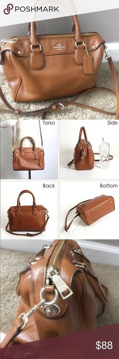 """💕 Coach Mini Bennett Satchel 36677 Perfect Neutral Shade Bag for all outfits. Fits a large accordion wallet easily with a lot of extra space. Great daily go to bag that fits all necessities.  ⭐️ Coach Mini Bennett Satchel In Pebble Leather Handbag Saddle 36677 Brown  Measures ~ 9.5""""L x 6.5""""H x 4.5""""W. includes Long strap for cross body wear. Gold Hardware. Inside Zip, phone, and multifunction pockets. Zip top closure. WATERPROOF sprayed. GREAT Condition. Non Smoking Home. Coach Bags Satchels"""