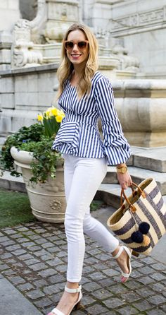 Need a fun blouse with a chic story to tell? This blue striped page top with its ruched balloon sleeves is a real page turner. Turn to Stripe Page Top featured by katiesbliss Blog