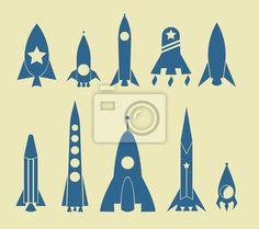 Wall Mural rocket icon - art - astronaut • PIXERSIZE.com