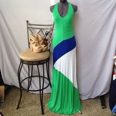 ❗️Host Pick bebe Color Block Halter Maxi ❗️Sale❗️ Worn a few times but still in really good condition!  Up close the fabric does show a little sign of wear (shown in pics) but it's still super sexy.  The material is soft and thin.  The dress has a bra lining panel with elastic at the bottom.  Bundles save more!!  No trades.  No holds.  bebe Dresses Maxi