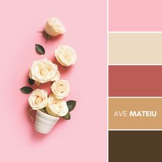 Roses spring falt lay with white cup on pink background, top view Color Palette #381 – Ave Mateiu  -  Summer 2020, color palette, color palettes, colour palettes, color scheme, color inspiration, color combination, art tutorial, collage, digital art, canvas painting, wall art, home painting, photography, weddings by color, inspiration, vintage, wallpaper, background, rustic, seasonal, season, natural, nature