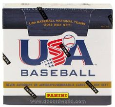 2012 Panini USA Baseball Hobby Box (Set) by USA. $99.95. Each Box Set will contain (7) Autographs or Autograph/Memorabilia cards, (2) Memorabilia Cards, (3) Team Photo Checklists and a complete 63-card base set (comprised of the 2012 Collegiate National Team, 18U National Team and 15U National Team)! The first cards and autographs of the 2012 USA Baseball 18U National Team and the 15U National Team! Find on-card autographs for the Collegiate National Team and 18U Nati...
