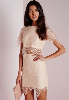 Look lavish in lace this season with our luxe nude lace overlay crop top. Featuring capped sleeves and a nude underlay this beaut is a must-have for every sassy party girl's wardrobe. Team with the matching mini skirt and strappy heels fo...