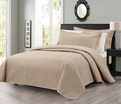 3pcs Solid Modern Quilted Coverlet Set King, Khaki