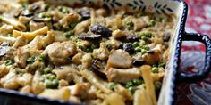 A hearty chicken casserole made with ziti, mushrooms, veggies, green chile and a creamy, cheesy sauce. Chicken Recipes Food Network, Best Chicken Recipes, Chicken Casserole, Casserole Recipes, Food Network Valerie Bertinelli, Chicken Tetrazzini Recipes, Homemade Lasagna, Food Network Canada, Cooking Recipes