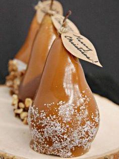 Caramel dipped pears...o yumm!