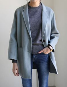 dusty blue coat, sweater, + skinny jeans | Skirt the Ceiling | skirttheceiling.com