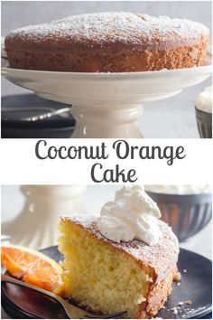 Coconut Orange Cake the perfect combination makes a Tasty Moist Cake. A delicious Snack, Breakfast or Dessert Cake Recipe. Dessert Cake Recipes, Fruit Recipes, Fall Recipes, Yummy Snacks, Delicious Desserts, Orange Polenta Cake, Best Pumpkin Pie Recipe, Fresh Fruit Cake, Cake Decorating With Fondant