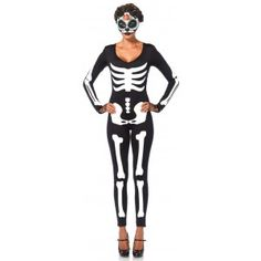 Skeleton Printed Catsuit Price: $48.00  Black spandex stretch catsuit is printed with a glow in the dark skeleton. Great for Halloween. Other items sold separately.  #cosplay #costumes #halloween