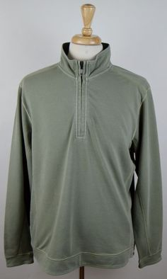 men's Tommy Bahama olive drab 1/2 zip cotton spandex LS pullover sweater XL used #TommyBahama #12Zip