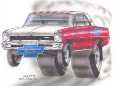 Bill 'Grumpy' Jenkins and his Super Stock Nova. Cartoon Car Drawing, Car Drawings, Cars Cartoon, Caricature, Dog Car Accessories, New Luxury Cars, Super Sport Cars, Chevy Nova, Weird Cars