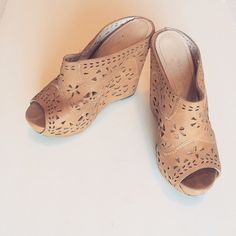 Flirty Wedges Tan,flirty, wedges • Good condition • summertime must have • Bundled deals for those interested  Shoes
